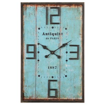 Uttermost Antiquite Distressed Wall Clock in Blue