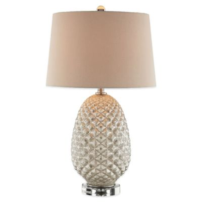 Panama Jack® Antique Mercury Diamond Accent Table Lamp in Ivory with Burlap Shade