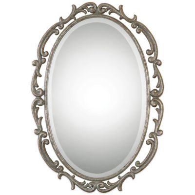 Uttermost Gwendolen 37-3/8-Inch x 26-1/2-Inch Antiqued Oval Wall Mirror