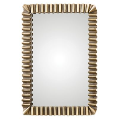 Uttermost Sori Scalloped Metal Mirror in Antique Silver