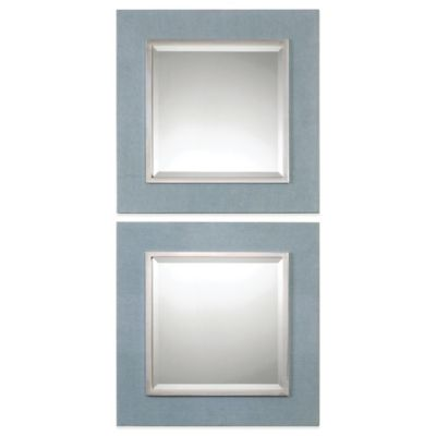 Uttermost Tory 19-1/2-Inch Denim Square Mirrors (Set of 2)