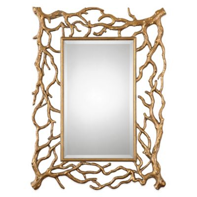 Uttermost Sequoia Tree Branch Mirror in Gold Leaf