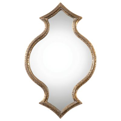 Uttermost Bagara 29-7/8-Inch x 19-1/4-Inch Antiqued Wall Mirror in Gold