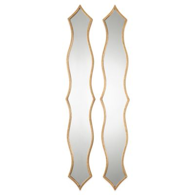 Uttermost Morvana 47-3/8-Inch x 7-Inch Curved Metal Wall Mirrors (Set of 2)