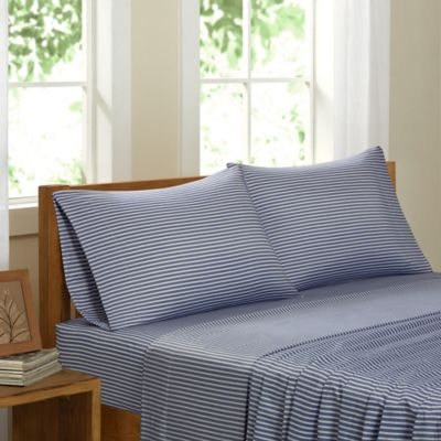 Eco Weave Club Stripe California King Sheet Set in Blue