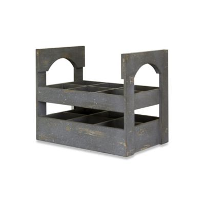 6-Bottle Weathered Wood Wine Holder in Grey