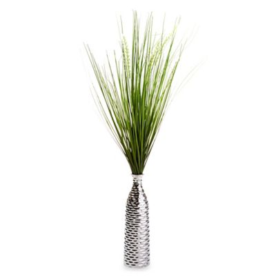 Grass in Silver Vase