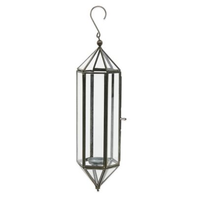 Brass and Glass 12.5-Inch Hanging Lantern