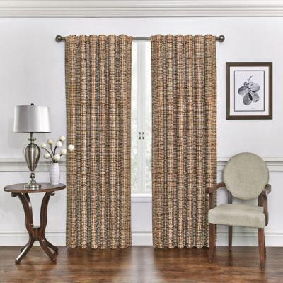 Vue Fishnet Plaid 84-Inch Room Darkening Window Curtain Panel in Spice