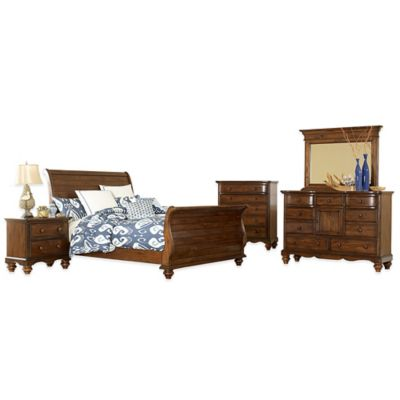 Hillsdale Pine Island 5-Piece King Sleigh Bedroom Set in Dark Pine