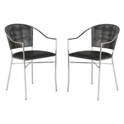 Safavieh Melita Armchairs in Black (Set of 2)