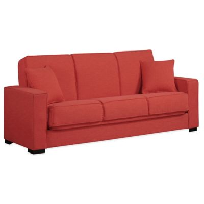 Handy Living Malibu Convert-a-Couch in Sunrise Red Linen