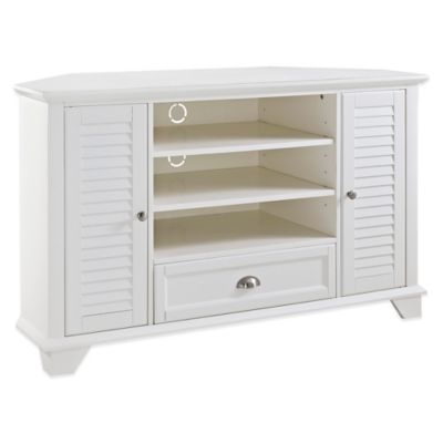 Crosley Palmetto 50-Inch Corner TV Stand in White