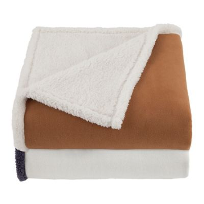 Vellux® Shearling Throw in Tobacco Brown/Ivory