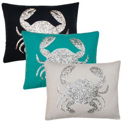 Thro Sequin Crab Oblong Throw Pillow in Peacoat Navy
