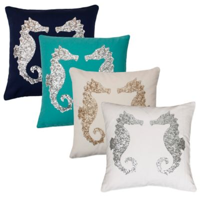 Thro Sequin Seahorse Square Throw Pillow in Baltic Blue