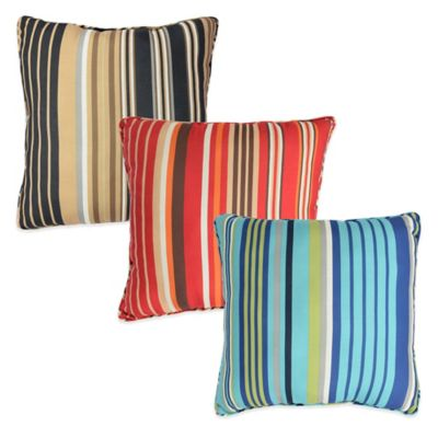Parasol Windley Key Stripe Indoor/Outdoor Square Throw Pillow in Chili