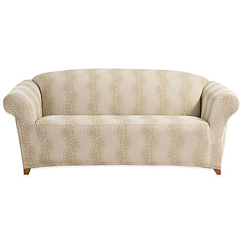 sure fit stretch jersey sofa slipcover in beige taupe