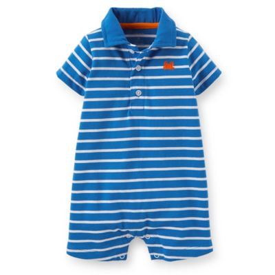 Carter's® Size 3M Cotton Stripe Romper in Blue/White
