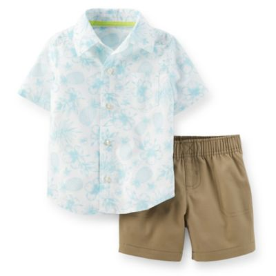 Carter's® Size 24M 2-Piece Tropical Shirt and Short Set in White/Blue/Khaki
