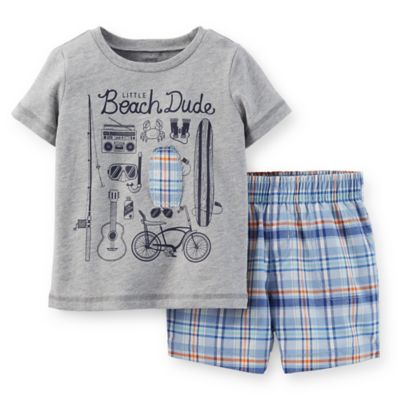 "Carter's® Newborn 2-Piece ""Little Beach Dude"" T-Shirt and Plaid Short Set in Grey/Blue/Orange"
