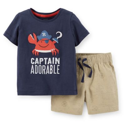 "Carter's® Size 24M 2-Piece ""Captain Adorable"" T-Shirt and Map Short Set in Navy/Red/Tan"