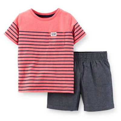 Carter's® Size 24M 2-Piece Pocket T-Shirt and Chambray Short Set in Coral Stripe/Blue