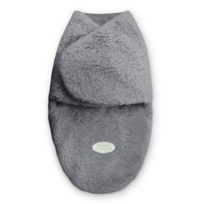 Blankets & Beyond Size 3-6M Sherpa Swaddle in Charcoal Grey