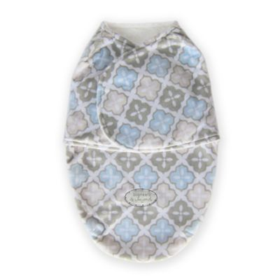 Blankets & Beyond Size 0-3M Super Plush Print Printed Swaddle in Blue