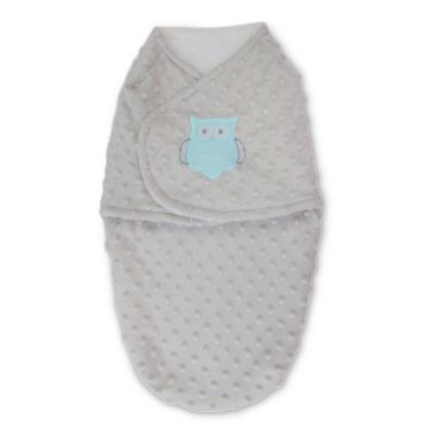Blankets & Beyond Size 3-6M Polyester Owl Plush Swaddle in Grey