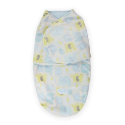 Blankets & Beyond Size 0-3M Super Plush Elephant Printed Swaddle in Blue/Yellow