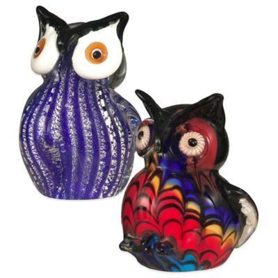 Dale Tiffany Art Glass 2-Piece Owl Figurines Set