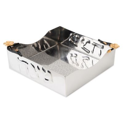 Classic Touch Stainless Steel Matzah Tray with Frangipani Flowers in Black/Gold