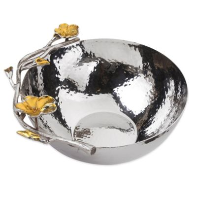 Classic Touch Frangipani Hammered Stainless Steel Medium Salad Bowl