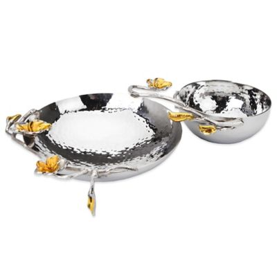 Classic Touch Frangipani Hammered Stainless Steel Chip and Dip Bowl