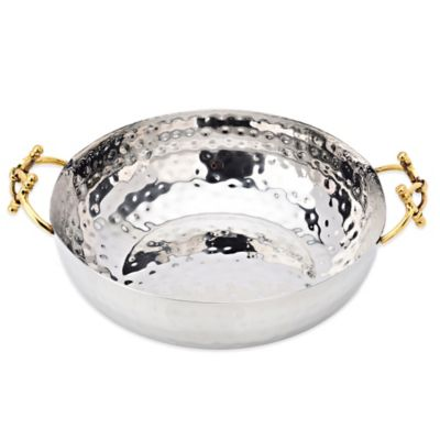 Classic Touch Hammered Stainless Salad Bowl with Buckle Design