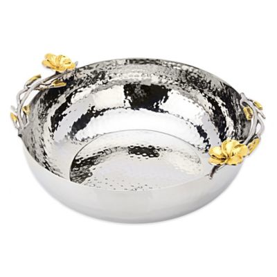 Classic Touch Frangipani Hammered Stainless Steel Salad Bowl