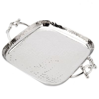 Classic Touch Hammered Stainless Steel Square Tray