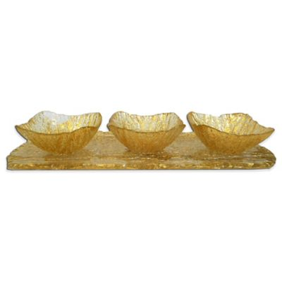 Classic Touch Relish Dish with Tray Set in Gold