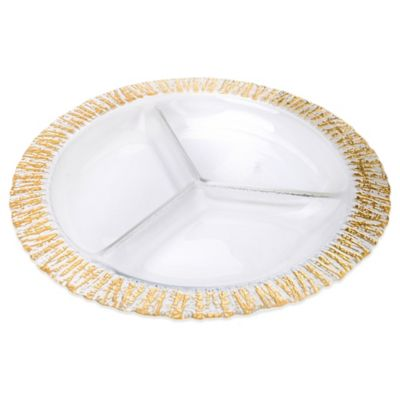 Classic Touch 3-Sectional Relish Dish with Scalloped Gold Border