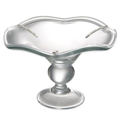 Classic Touch Italian Glass Serving Bowl with Swarovski® Crystals