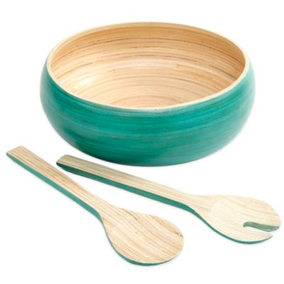 Gibson Overseas Bamboo 3-Piece Salad Set in Blue
