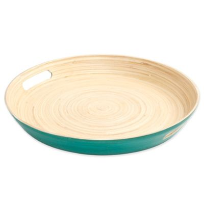 Gibson Overseas Round Bamboo Serving Tray in Blue