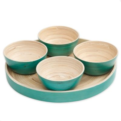 Gibson Overseas 5-Piece Bamboo Dip Bowl Set in Blue