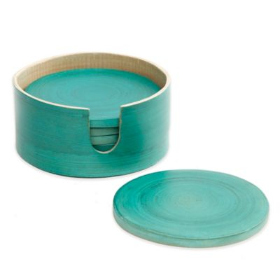 Gibson Overseas 7-Piece Bamboo Coaster Set in Blue