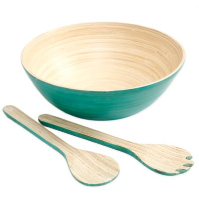 Gibson Overseas 3-Piece Bamboo Salad Set in Blue