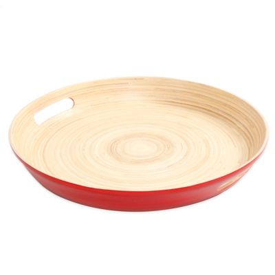 Gibson Overseas Round Bamboo Serving Tray in Red