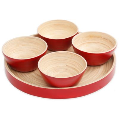Gibson Overseas 5-Piece Bamboo Dip Bowl Set in Red