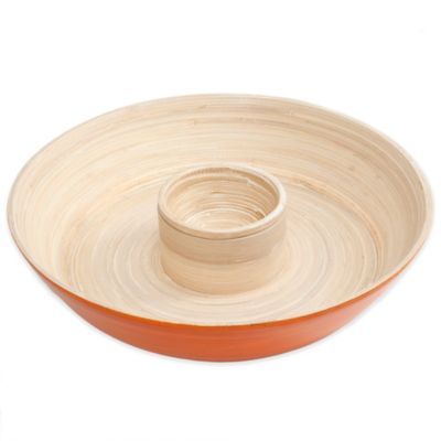Gibson Overseas Bamboo Chip & Dip Tray in Orange