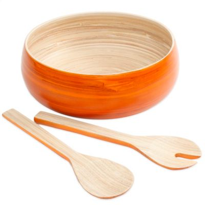 3-Piece Bamboo Salad Set in Orange